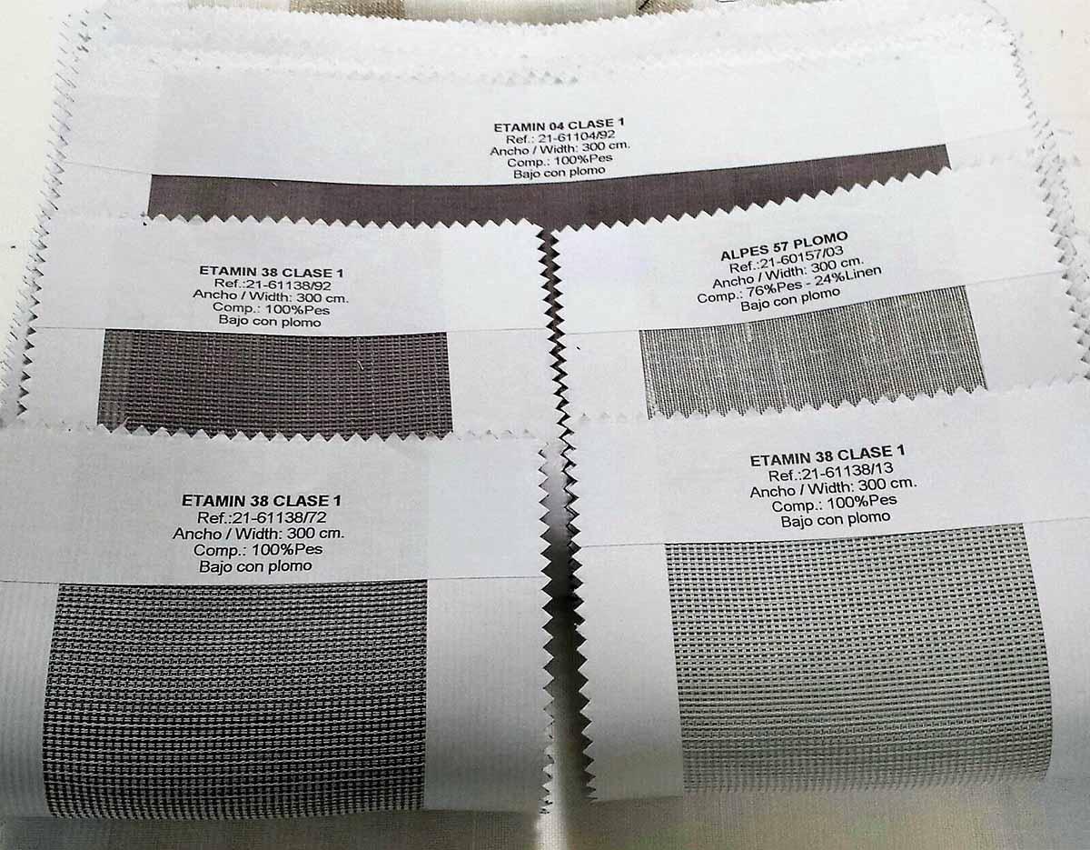 muestrario en libro, telas con los bordes encintados